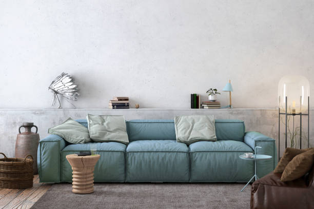 moderne nordische wohnzimmer interieur mit sofa und viele details - kissen grün stock-fotos und bilder