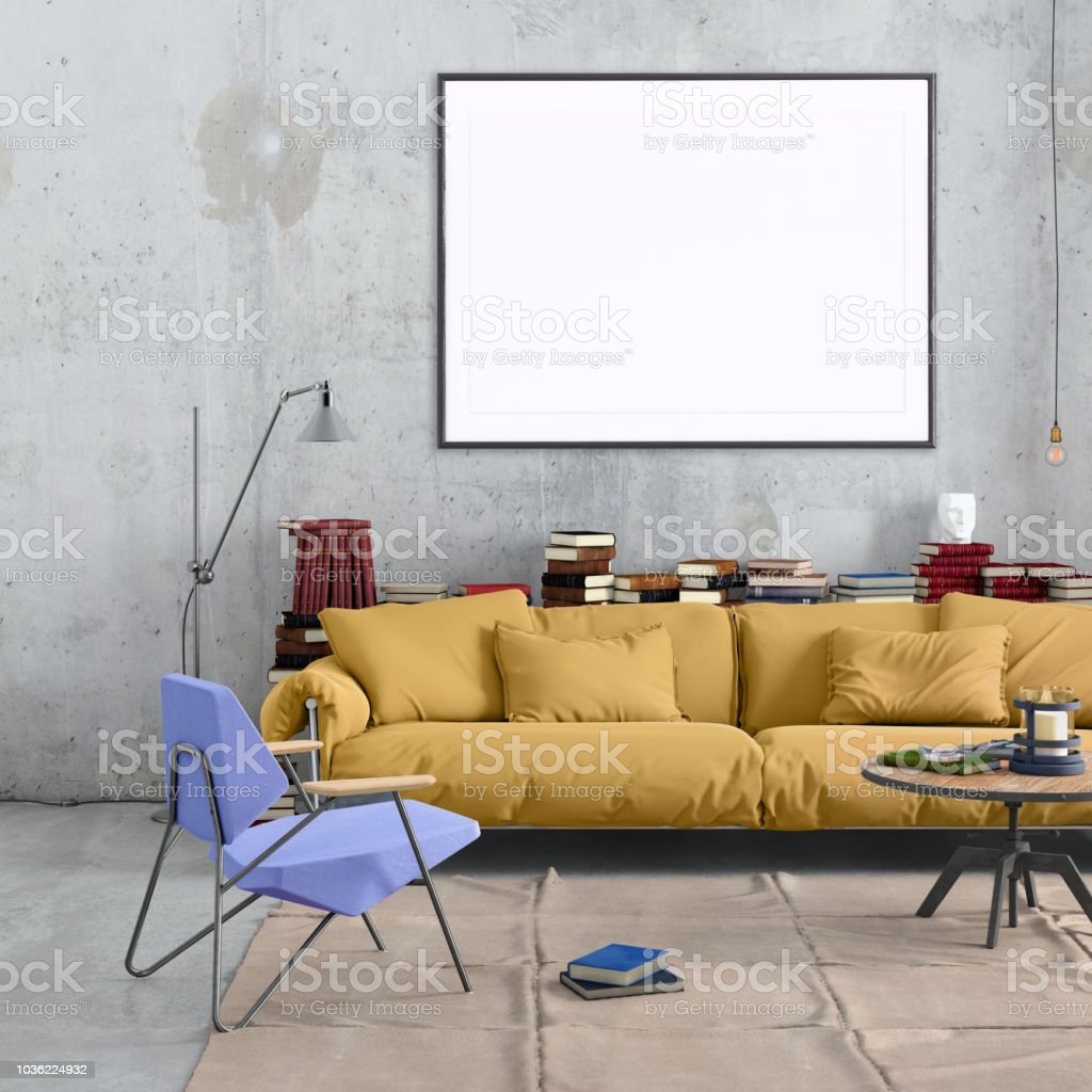 Modern Nordic style apartment interior. Large pastel colored sofa...