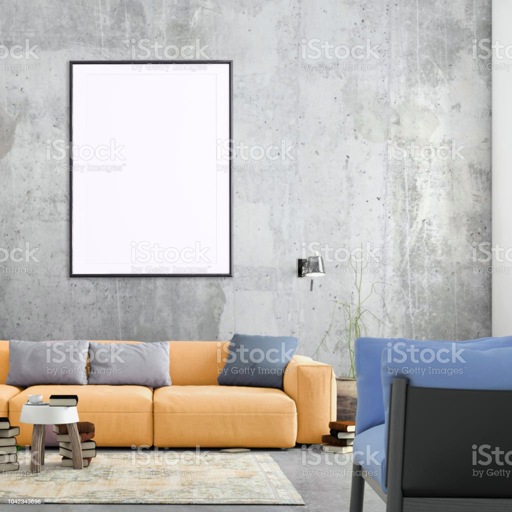 modern nordic style living room with picture frame template stock