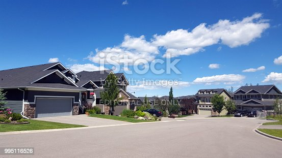 Calgary,Alberta,Canada- July 7,2018: Summertime group of Modern homes on cul-de- sac.  Two car garages and front yards.
