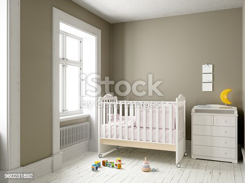 Modern nursery room with blank frame