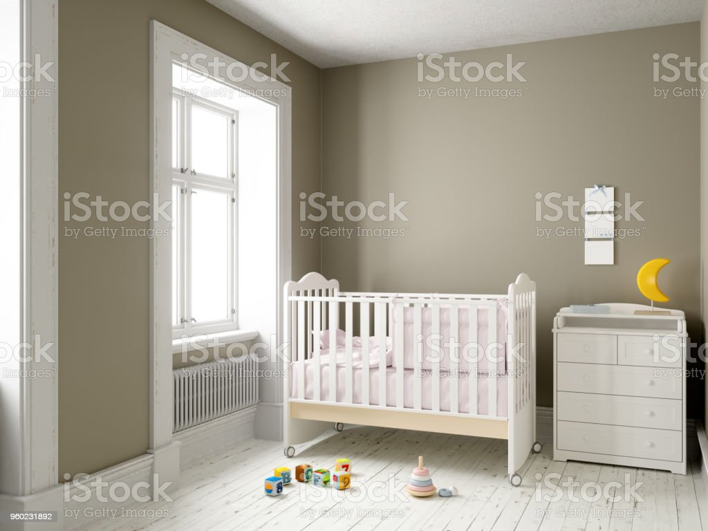 Modern nursery room with blank frame stock photo