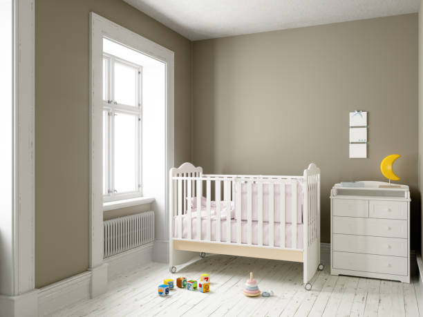 Modern nursery room with blank frame Modern nursery room with blank frame crib stock pictures, royalty-free photos & images