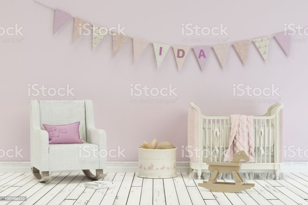 Modern Nursery With Decorated Flags With Name Ida Stock ...