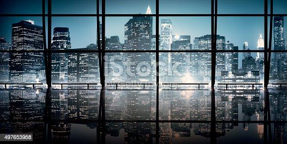 istock Modern NYC Interior Architecture Night Scene Concept 497653958