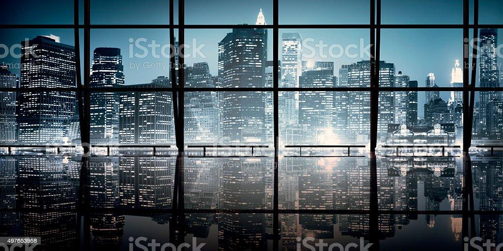 ニューヨークのインテリアデザインモダンなコンセプトの夜の風景 ストックフォト