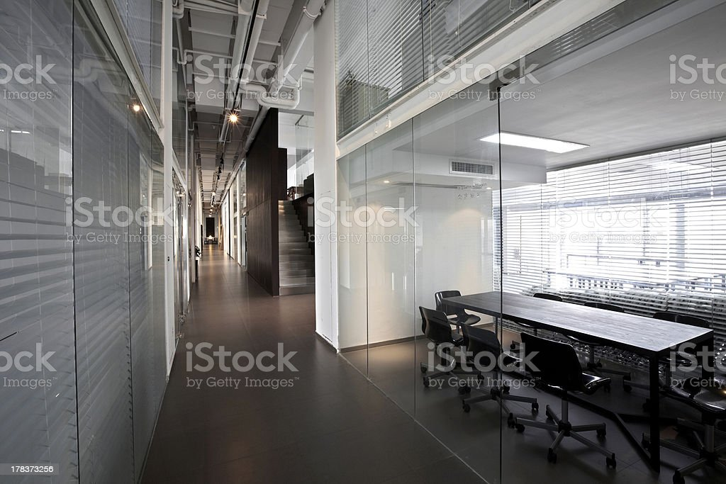 Modern office aisle stock photo