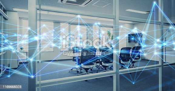 istock Modern office and wireless communication network concept. 1169668323