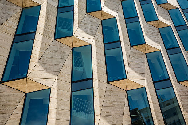 Modern office architecture in glass, steel and marble stock photo