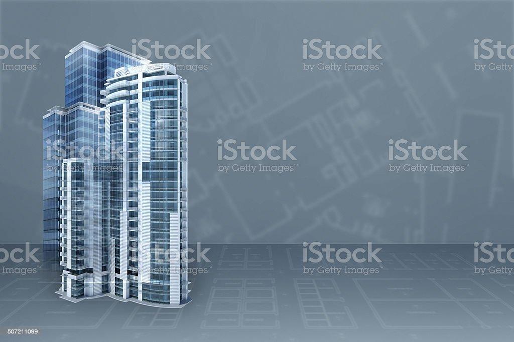 Bureau moderne architecture projet blueprint arrièreplan