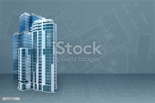 istock Modern office: architecture project blueprint transparent background with 3D buildings 507211099