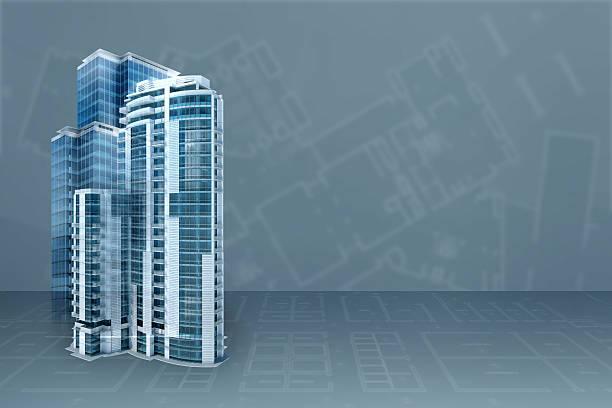 Bureau moderne: architecture projet blueprint arrière-plan transparent avec des bâtiments en 3D - Photo