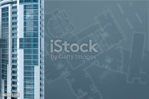 507211101 istock photo Modern office: architecture project blueprint transparent background with 3D buildings 507211101