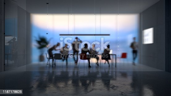 Group of people working in a modern board room at night, focus on the glass partition, all objects in the scene are 3D