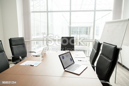 istock Modern office boardroom interior with conference table and big window 958531254