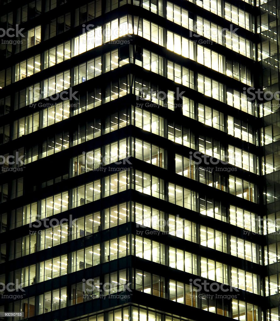 Modern office building at night royalty-free stock photo