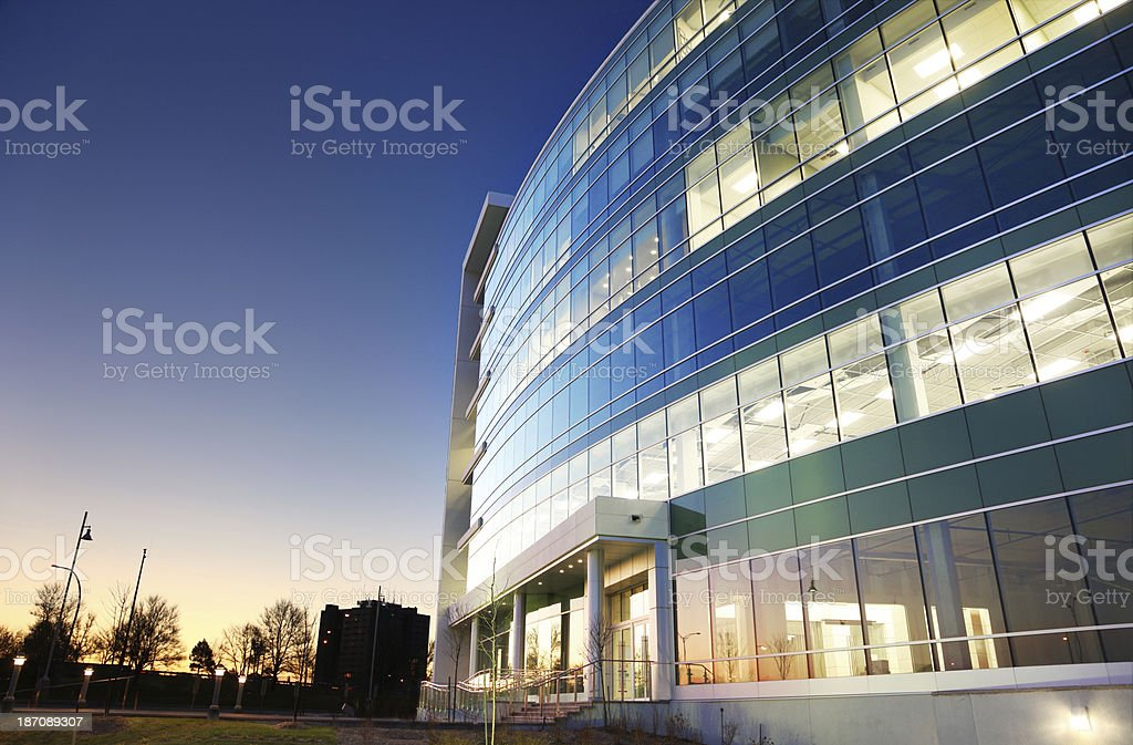 Modern Office Building at Sunset stock photo