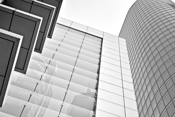 Modern office building. Black and white. stock photo