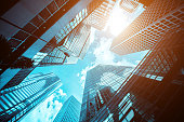 istock Modern office building close up in sunlight 1269675358