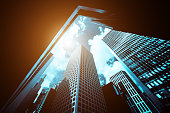 istock Modern office building close up in sunlight 1269677040