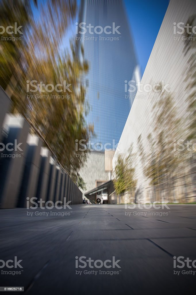 Modern Office Building Entrance in Motion Blur stock photo