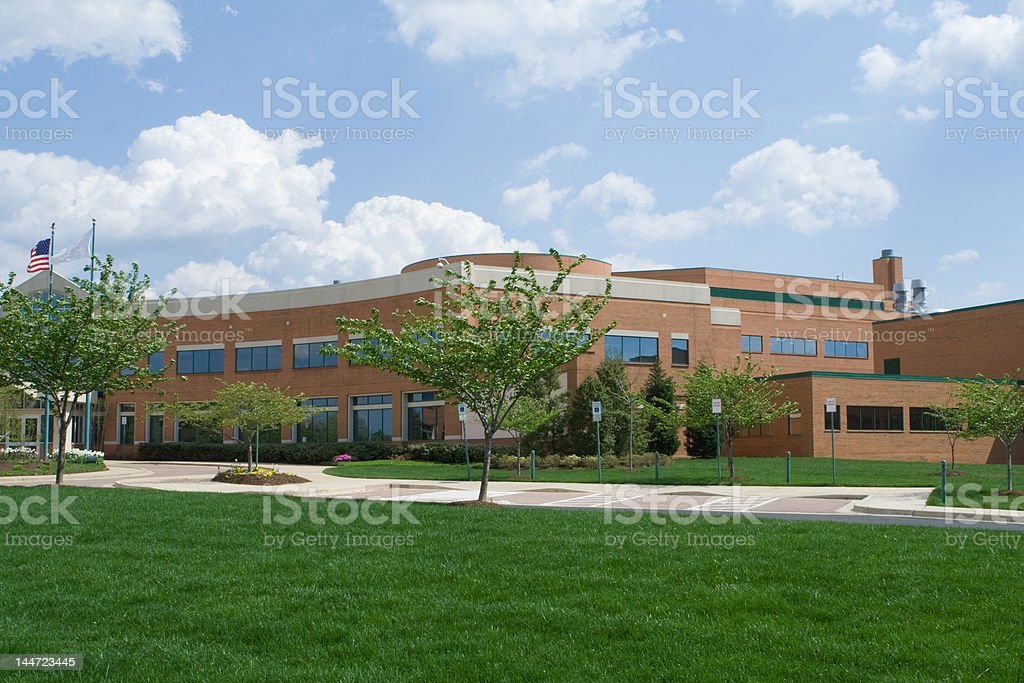 Modern Office Building Green Campus in Suburban Washington, DC, USA stock photo