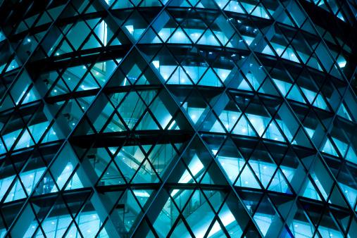 futuristic office building at night, blue toned image, Canon EOS 1Ds Mark III, RAW 16 bit, Adobe RGB