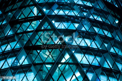 futuristic office building at night, blue toned image, Canon EOS 1Ds Mark III, RAW 16 bit, Adobe RGB