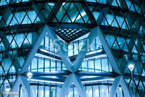 istock Modern Office Building Illuminated at Night 173582949