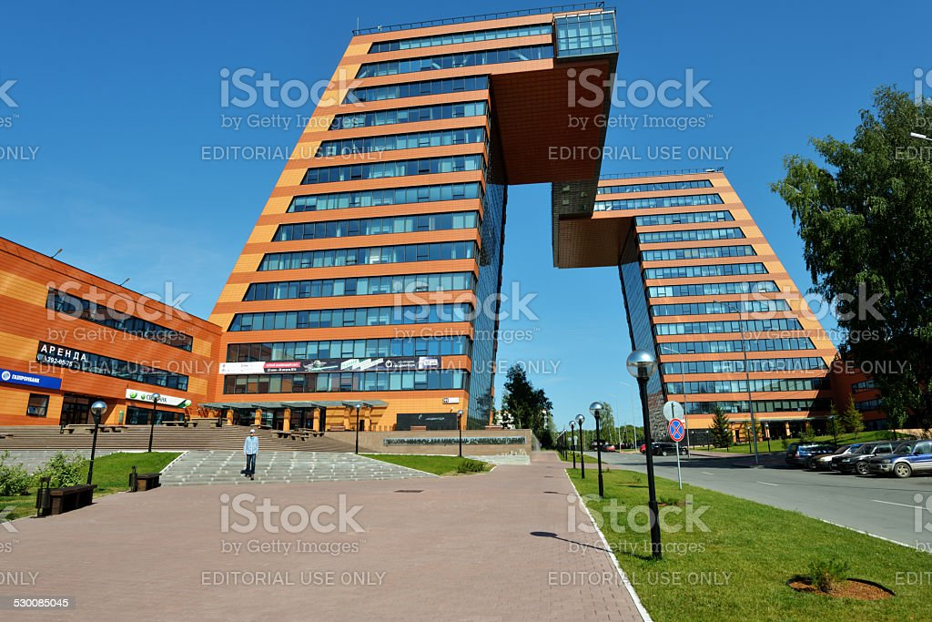 Modern office building in Novosibirsk stock photo