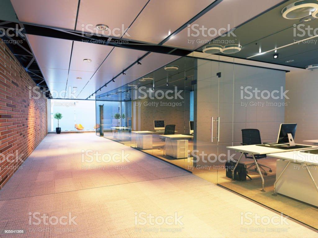 modern office building interior. stock photo