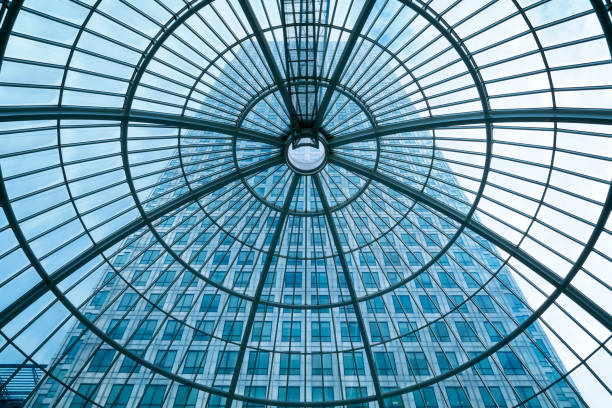 Modern Office Building Seen Through Glass Roof, London, UK stock photo