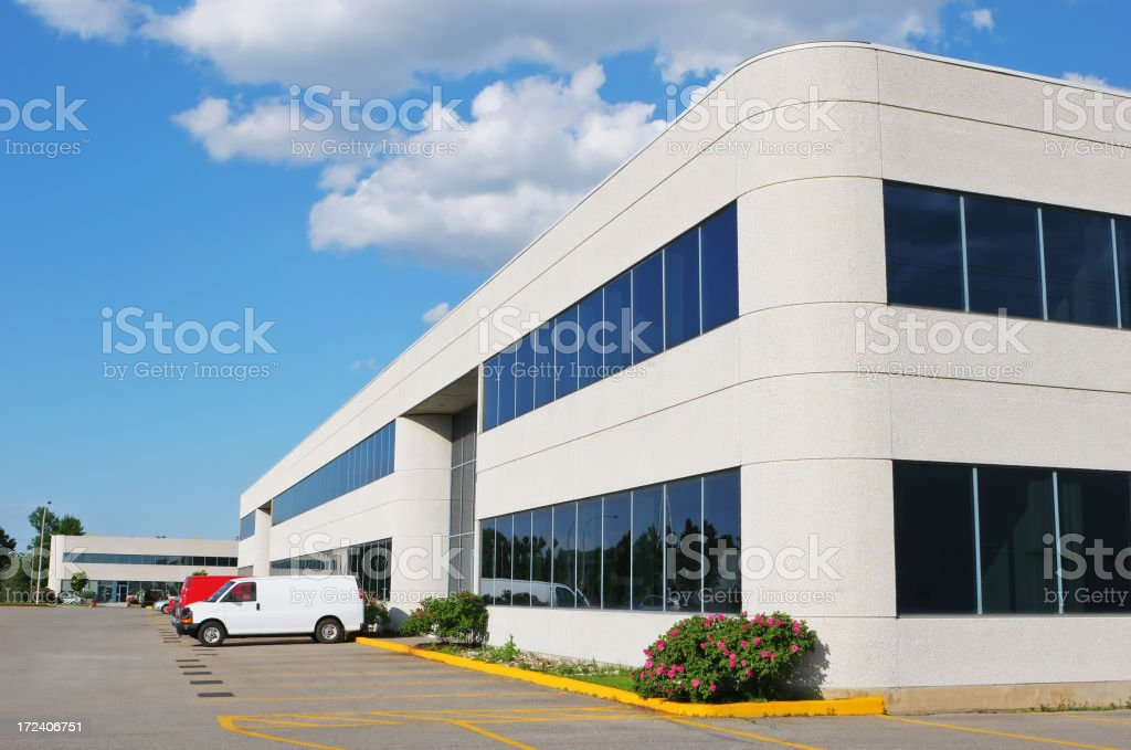 Modern Office Building with delivery van royalty-free stock photo