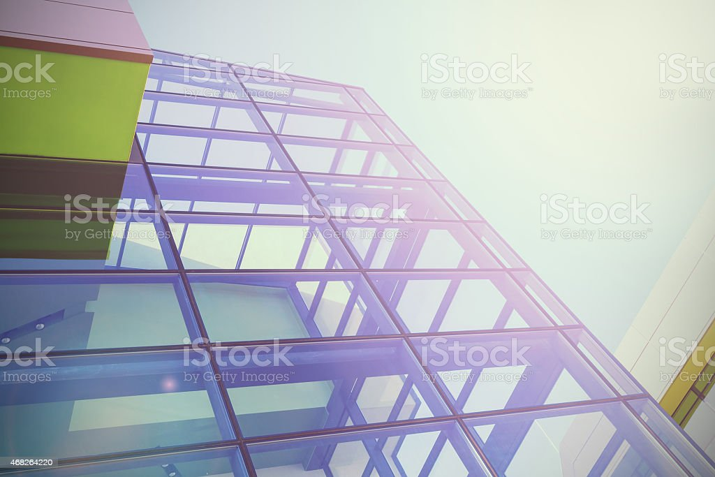 A modern office building with many windows stock photo