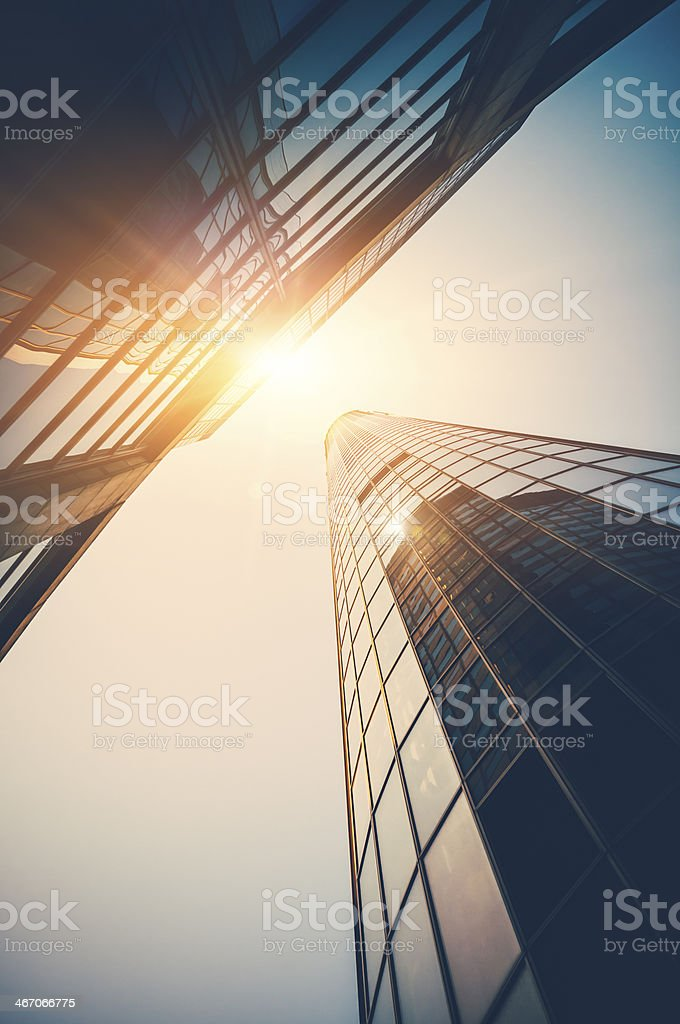 Modern office building with sunligth at dawn royalty-free stock photo