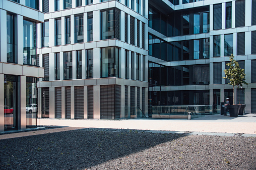 A square in a modern office buildings area in Bonn, Germany