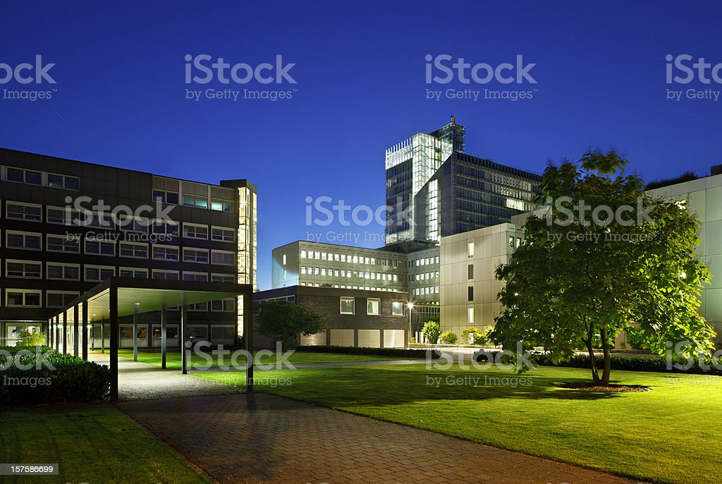 Modern Office Buildings At Night stock photo