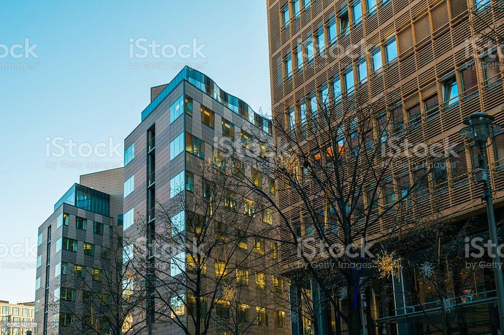 modern office buildings at potsdamer platz stock photo