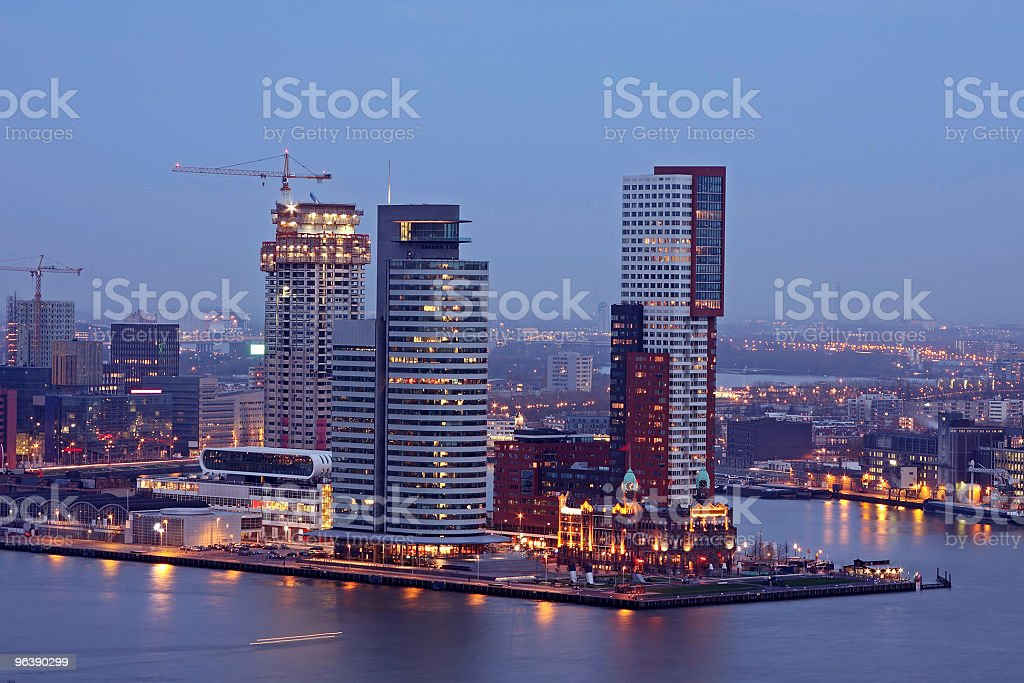 Modern office buildings by night in Rotterdam the Netherlands - Royalty-free Architecture Stock Photo