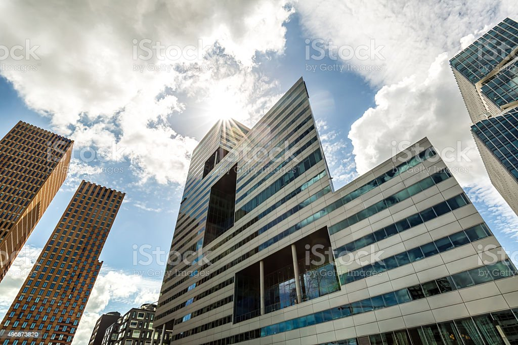 Modern office buildings in Amsterdam. stock photo
