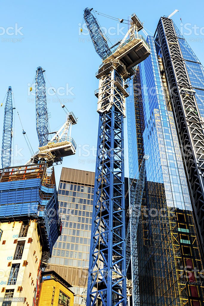 Modern Office Buildings in Construction, London, UK royalty-free stock photo