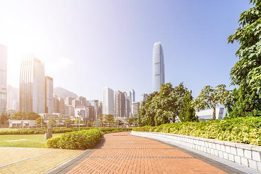 istock Modern office buildings in downtown, Hong Kong 1225722211