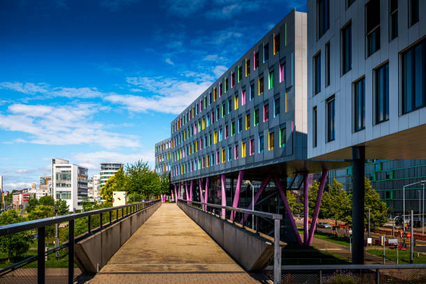 modern office buildings in Karlsruhe, Germany stock photo