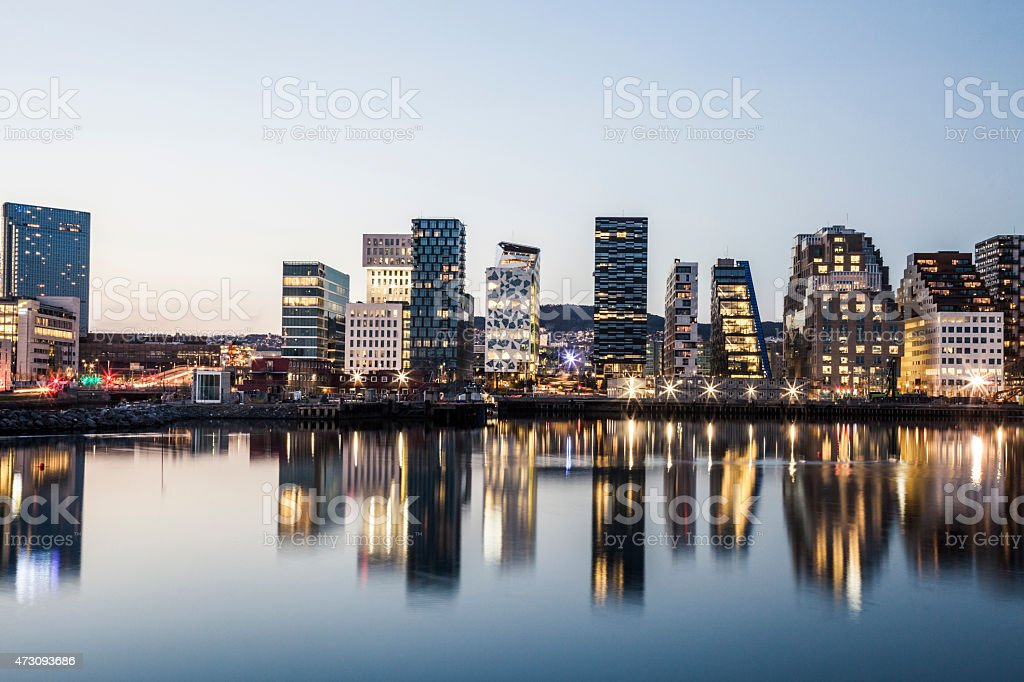 Modern office buildings in Oslo stock photo
