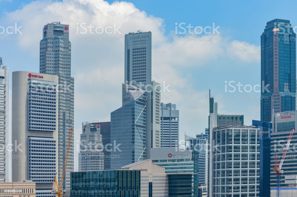 Modern office buildings in Singapore stock photo