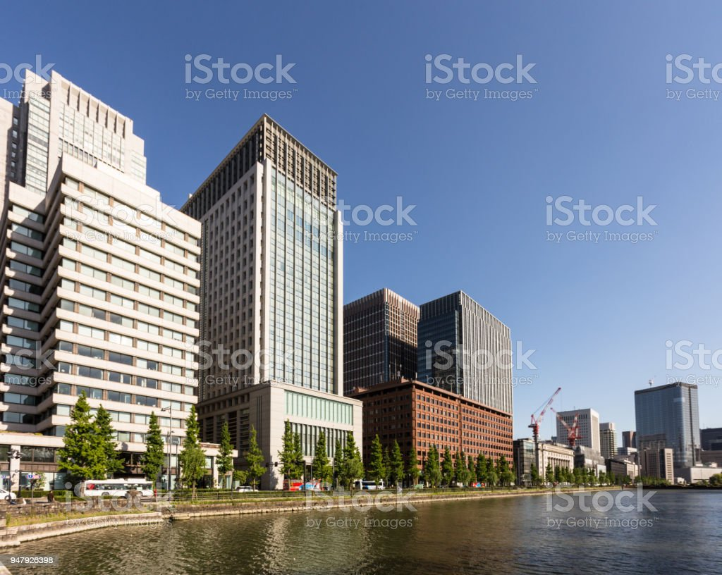 Modern office buildings in the buisiness district of Marunouchi in the heart of  Tokyo in Japan capital city stock photo