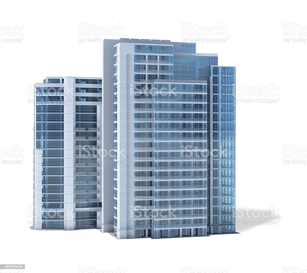 Modern office buildings, isolated on white background stock photo