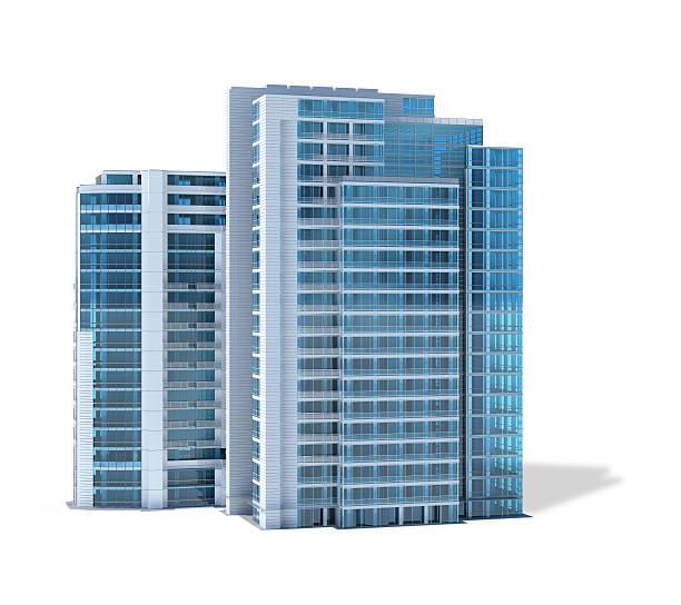 Moderne Bürogebäude, isoliert auf weißem Hintergrund – Foto