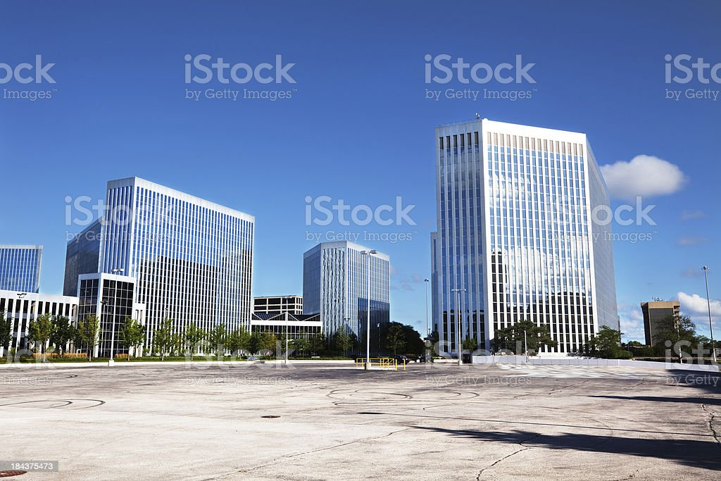 Modern office buildings.  Presidents Plaza, OHare, Chicago royalty-free stock photo