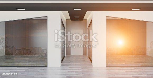 istock Modern office Cabinet. Meeting room. 3D rendering. Sunset. Empty interior 884552122